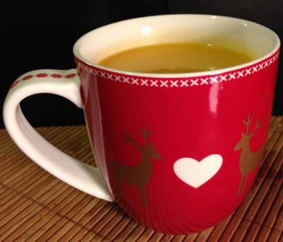 Ma soupe, dégustée dans ma tasse de Noël chérie
